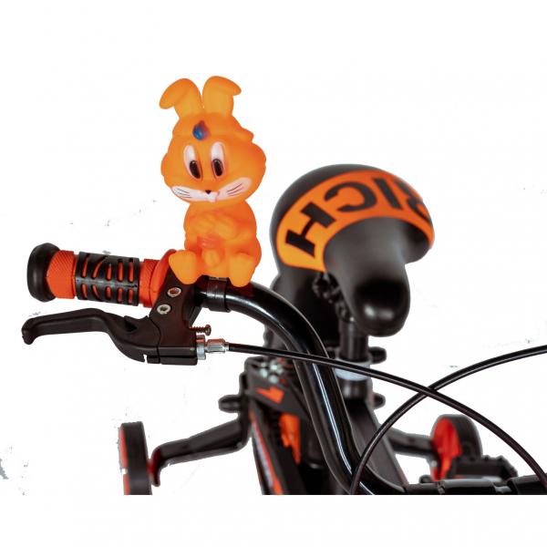 "Bicicleta baieti Rich Baby T1602C, roata 16"", C-Brake, roti ajutatoare, 4-6 ani, negru/portocaliu [9]"
