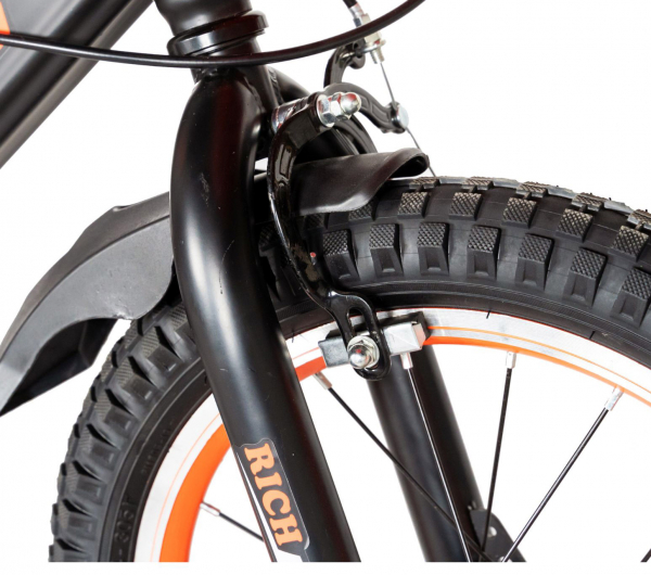 "Bicicleta baieti Rich Baby T1602C, roata 16"", C-Brake, roti ajutatoare, 4-6 ani, negru/portocaliu [7]"