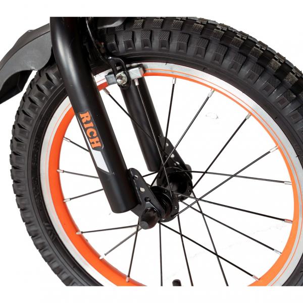 "Bicicleta baieti Rich Baby T1602C, roata 16"", C-Brake, roti ajutatoare, 4-6 ani, negru/portocaliu [6]"