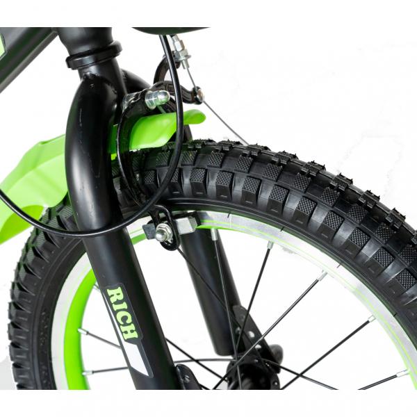 "Bicicleta baieti Rich Baby T1602C, roata 16"", C-Brake, roti ajutatoare, 4-6 ani, negru/verde [7]"