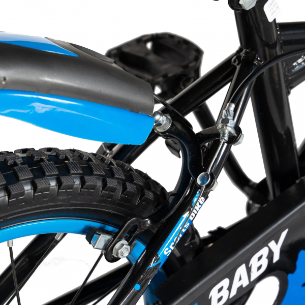 "Bicicleta baieti Rich Baby T1604C, roata 16"", C-Brake,  roti ajutatoare, 4-6 ani, negru/albastru [2]"