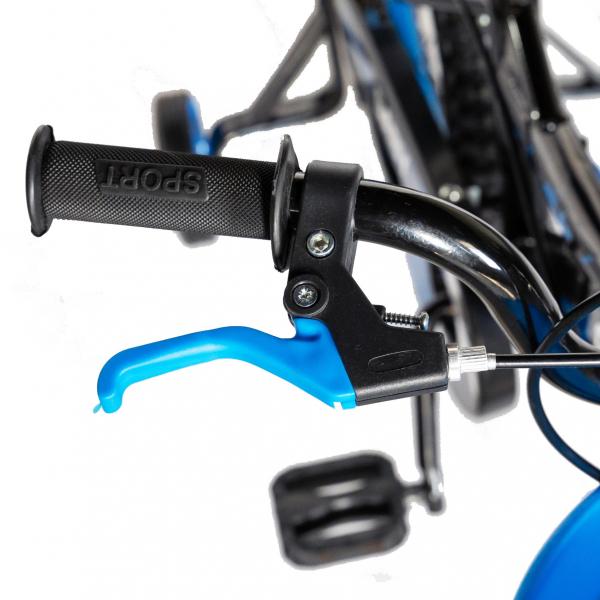 "Bicicleta baieti Rich Baby T1604C, roata 16"", C-Brake,  roti ajutatoare, 4-6 ani, negru/albastru [6]"