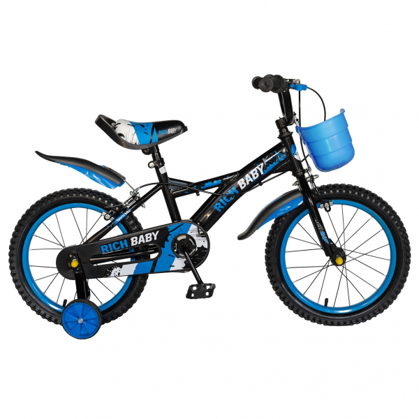 "Bicicleta baieti Rich Baby T1604C, roata 16"", C-Brake,  roti ajutatoare, 4-6 ani, negru/albastru [0]"