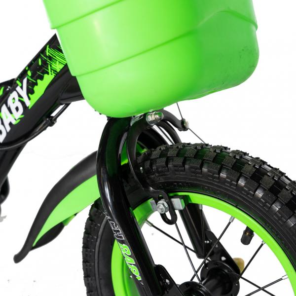 "Bicicleta baieti Rich Baby T1604C, roata 16"", C-Brake,  roti ajutatoare, 4-6 ani, negru/verde [5]"