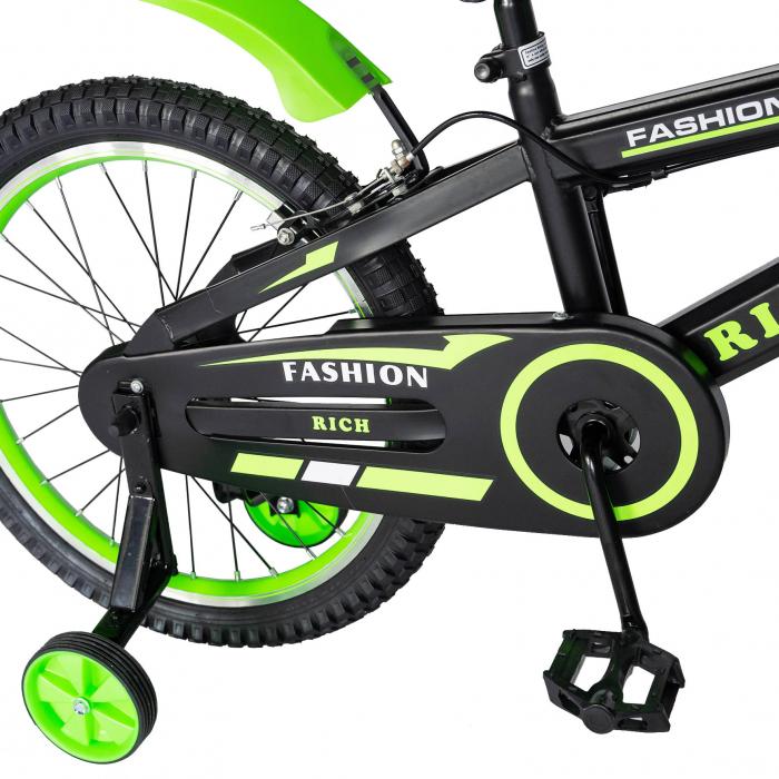 Bicicleta Baieti 7-10 Ani, Roti 20 Inch, Frane C-Brake, Roti Ajutatoare, Rich Baby CST20/02C, Cadru Negru cu Design Verde [1]