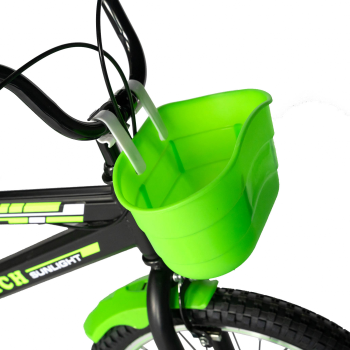 Bicicleta Baieti 7-10 Ani, Roti 20 Inch, Frane C-Brake, Roti Ajutatoare, Rich Baby CST20/02C, Cadru Negru cu Design Verde [5]