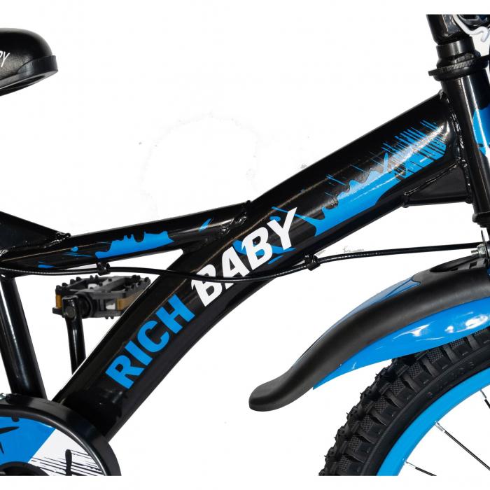 Bicicleta Baieti 7-10 Ani, Roti 20 Inch, Frane C-Brake, Rich Baby CST20/04C, Cadru Negru cu Design Albastru [4]