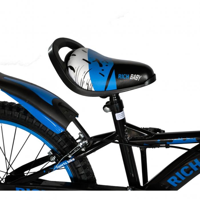 Bicicleta Baieti 7-10 Ani, Roti 20 Inch, Frane C-Brake, Rich Baby CST20/04C, Cadru Negru cu Design Albastru [2]