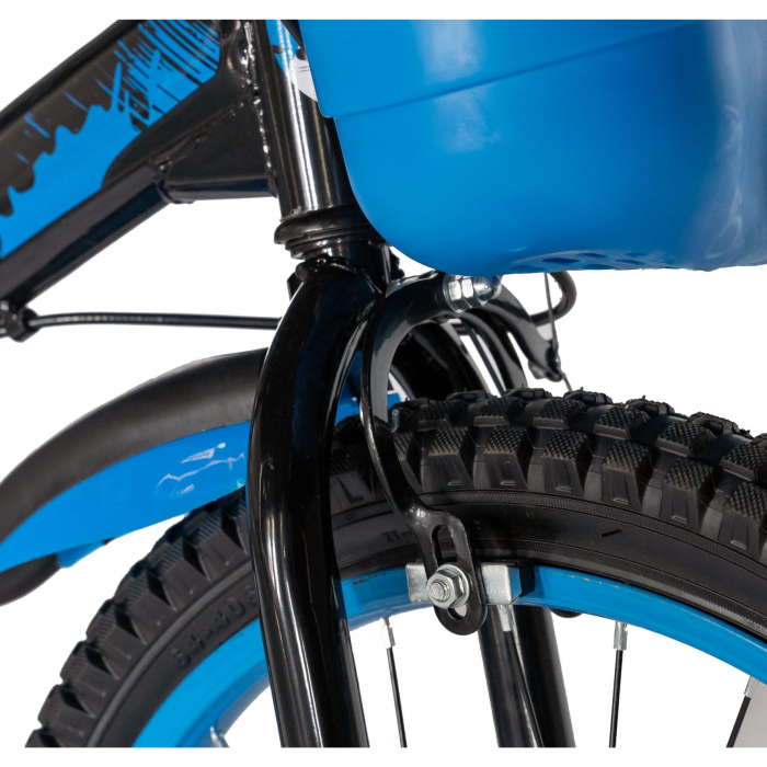 Bicicleta Baieti 7-10 Ani, Roti 20 Inch, Frane C-Brake, Rich Baby CST20/04C, Cadru Negru cu Design Albastru [5]