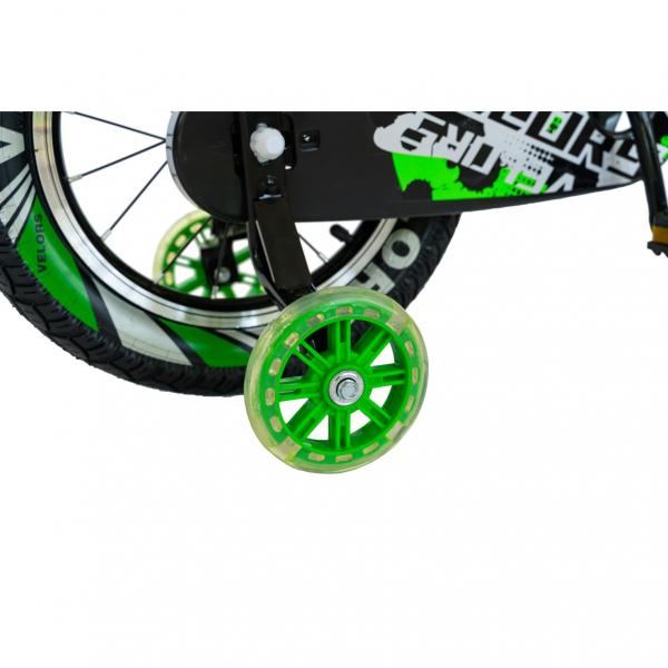 "Bicicleta baieti VELORS V1801A, roata 18"", C-Brake, roti ajutatoare, 5-7 ani, negru/verde [5]"