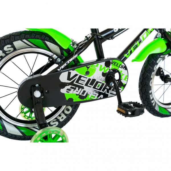 "Bicicleta baieti VELORS V1801A, roata 18"", C-Brake, roti ajutatoare, 5-7 ani, negru/verde [7]"