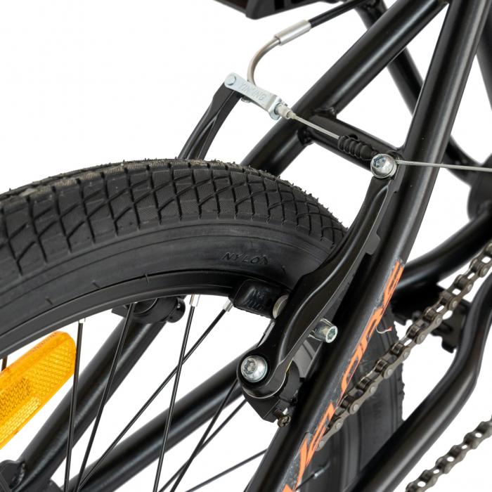 Bicicleta BMX, Roti 20 Inch, Frane V-Brake, Velors Rocker CSV20/16A, Cadru Negru cu Design Portocaliu [7]