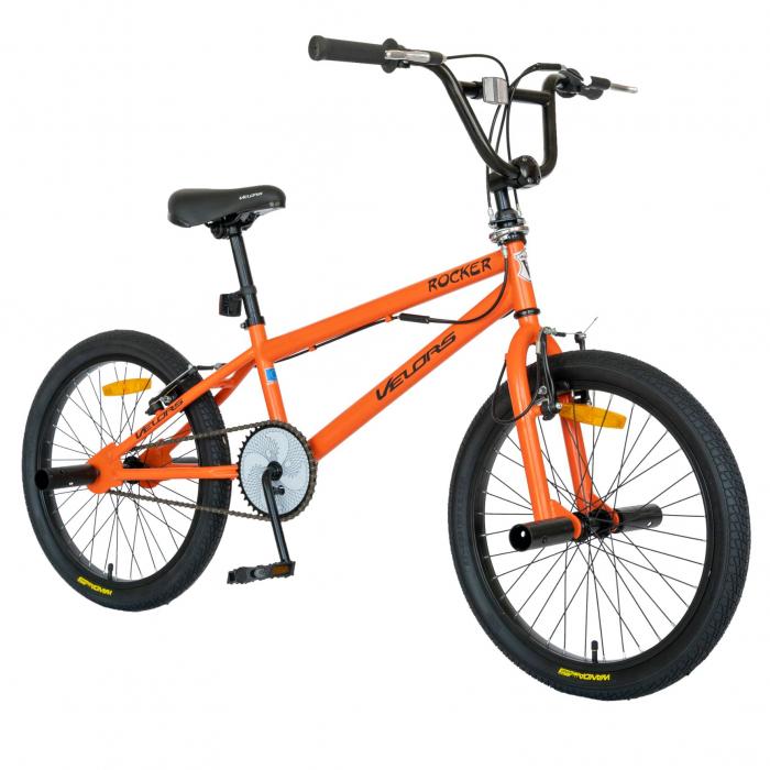 Bicicleta BMX, Roti 20 Inch, Frane V-Brake, Velors Rocker CSV20/16A, Cadru Portocaliu cu Design Negru [1]