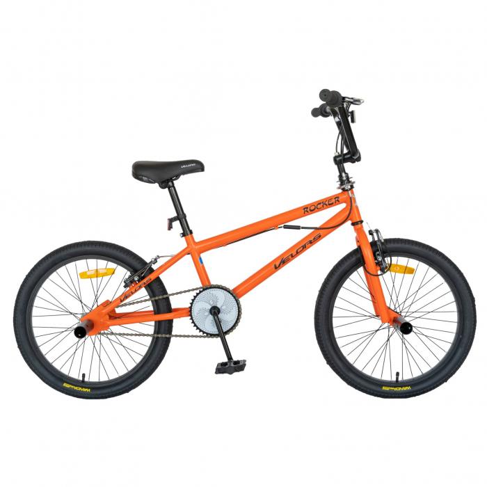 Bicicleta BMX, Roti 20 Inch, Frane V-Brake, Velors Rocker CSV20/16A, Cadru Portocaliu cu Design Negru [0]