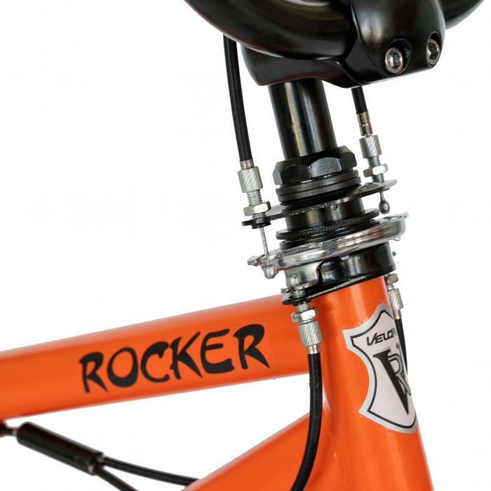 Bicicleta BMX, Roti 20 Inch, Frane V-Brake, Velors Rocker CSV20/16A, Cadru Portocaliu cu Design Negru [3]