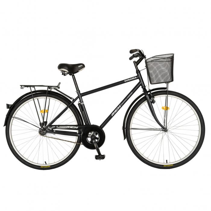 Bicicleta City, Roti 28 Inch, Frana V-Brake, Portbagaj, Aparatori Aluminiu, RICH Dunarea CSR28/91A, Cadru Negru cu Design Alb [0]