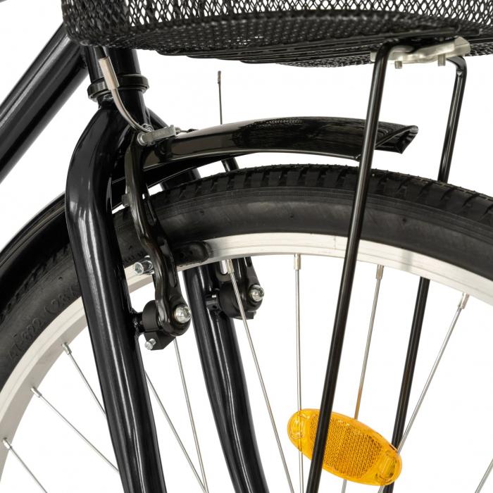Bicicleta City, Roti 28 Inch, Frana V-Brake, Portbagaj, Aparatori Aluminiu, RICH Dunarea CSR28/91A, Cadru Negru cu Design Alb [6]