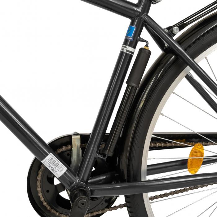 Bicicleta City, Roti 28 Inch, Frana V-Brake, Portbagaj, Aparatori Aluminiu, RICH Dunarea CSR28/91A, Cadru Negru cu Design Alb [4]