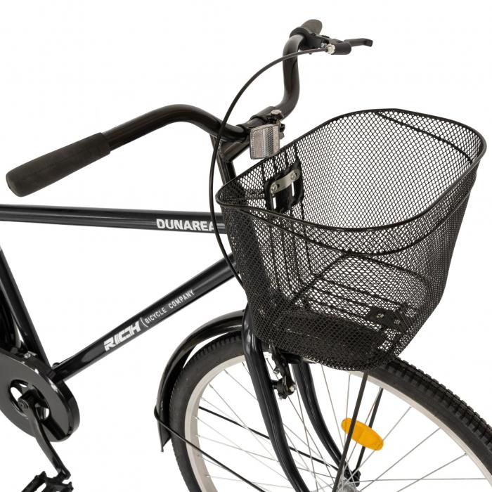 Bicicleta City, Roti 28 Inch, Frana V-Brake, Portbagaj, Aparatori Aluminiu, RICH Dunarea CSR28/91A, Cadru Negru cu Design Alb [7]