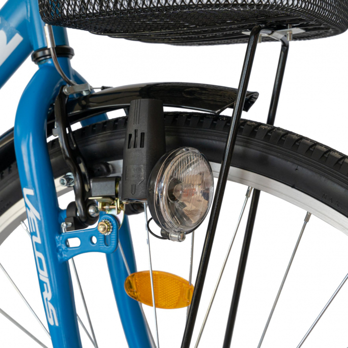 Bicicleta City Roti 28 Inch, Frane Mecanice V-Brake, Velors Ukrayna CSV28/93A, Cadru Albastru cu Design Alb [4]
