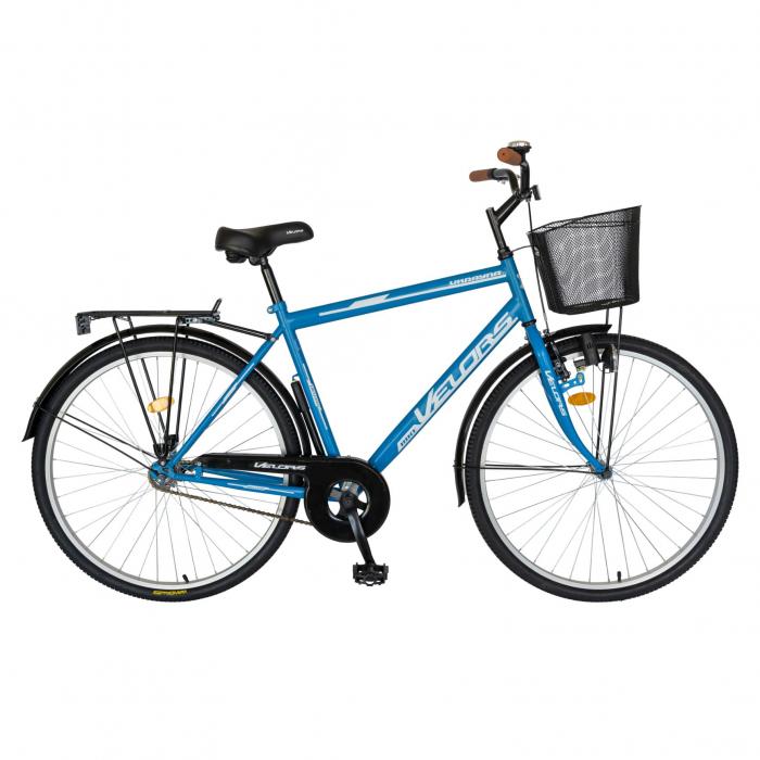 Bicicleta City Roti 28 Inch, Frane Mecanice V-Brake, Velors Ukrayna CSV28/93A, Cadru Albastru cu Design Alb [0]