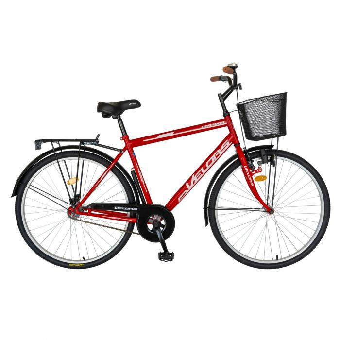 Bicicleta City Roti 28 Inch, Frane Mecanice V-Brake, Velors Ukrayna CSV28/93A, Cadru Rosu cu Design Alb [0]