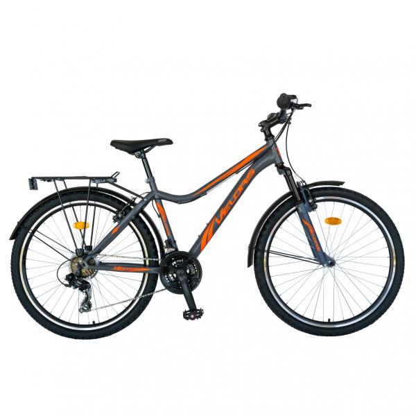 Bicicleta CITY Velors V2433B, roata 24 inch, echipare Shimano, 18 viteze, culoare gri/portocaliu [0]