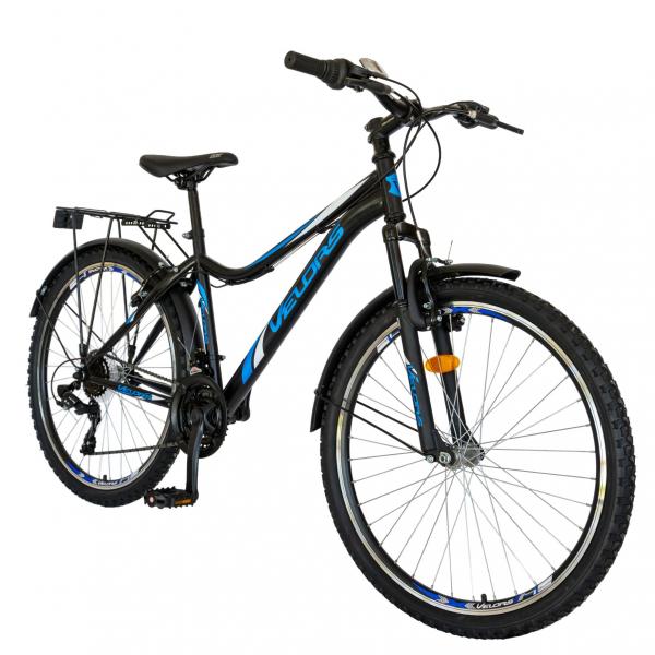 Bicicleta CITY Velors V2633B, roata 26 inch, echipare Shimano, 18 viteze, culoare negru/albastru 1