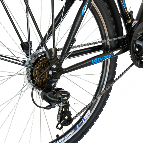 Bicicleta CITY Velors V2633B, roata 26 inch, echipare Shimano, 18 viteze, culoare negru/albastru 6