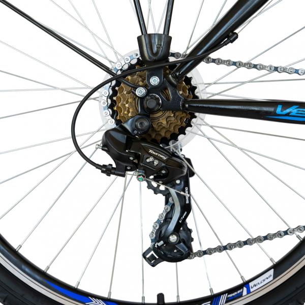 Bicicleta CITY Velors V2633B, roata 26 inch, echipare Shimano, 18 viteze, culoare negru/albastru 5
