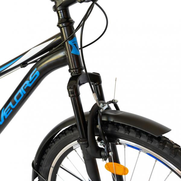 Bicicleta CITY Velors V2633B, roata 26 inch, echipare Shimano, 18 viteze, culoare negru/albastru 2