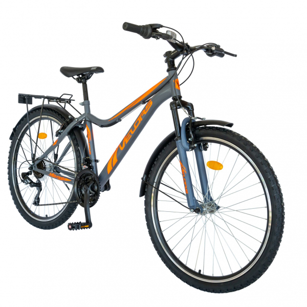 Bicicleta CITY Velors V2633B, roata 26 inch, echipare Shimano, 18 viteze, culoare gri/portocaliu [1]