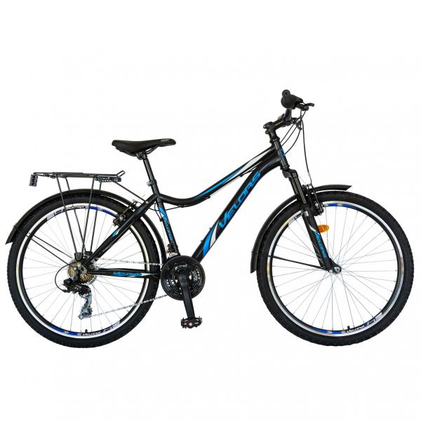 Bicicleta CITY Velors V2633B, roata 26 inch, echipare Shimano, 18 viteze, culoare negru/albastru [0]