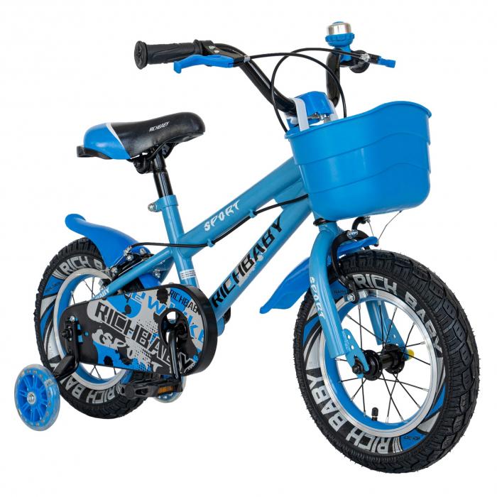 Bicicleta Copii 2-4 ani, Roti 12 Inch, C-Brake, Roti Ajutatoare, Rich Baby CSR12/03A, Cadru Albastru cu Design Negru [1]
