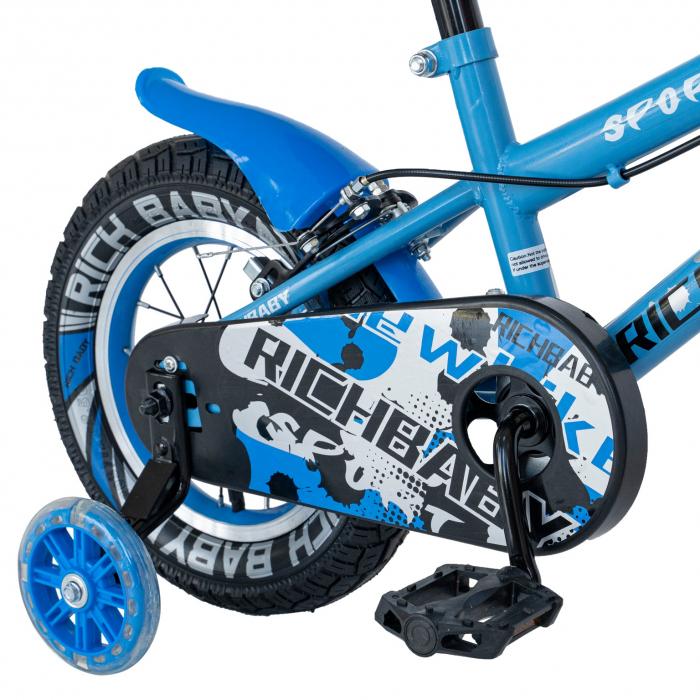 Bicicleta Copii 2-4 ani, Roti 12 Inch, C-Brake, Roti Ajutatoare, Rich Baby CSR12/03A, Cadru Albastru cu Design Negru [3]