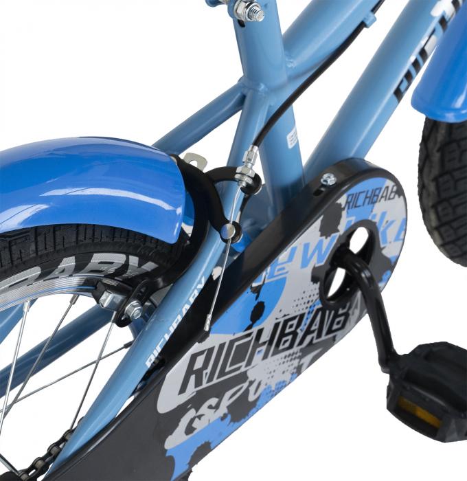 Bicicleta Copii 2-4 ani, Roti 12 Inch, C-Brake, Roti Ajutatoare, Rich Baby CSR12/03A, Cadru Albastru cu Design Negru [5]