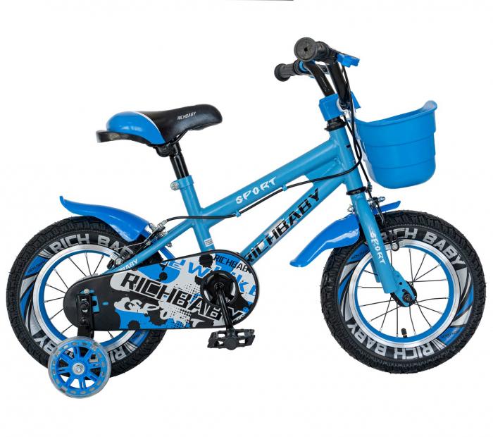Bicicleta Copii 2-4 ani, Roti 12 Inch, C-Brake, Roti Ajutatoare, Rich Baby CSR12/03A, Cadru Albastru cu Design Negru [0]
