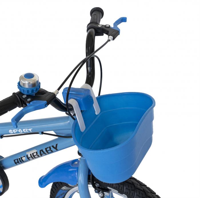 Bicicleta Copii 2-4 ani, Roti 12 Inch, C-Brake, Roti Ajutatoare, Rich Baby CSR12/03A, Cadru Albastru cu Design Negru [7]
