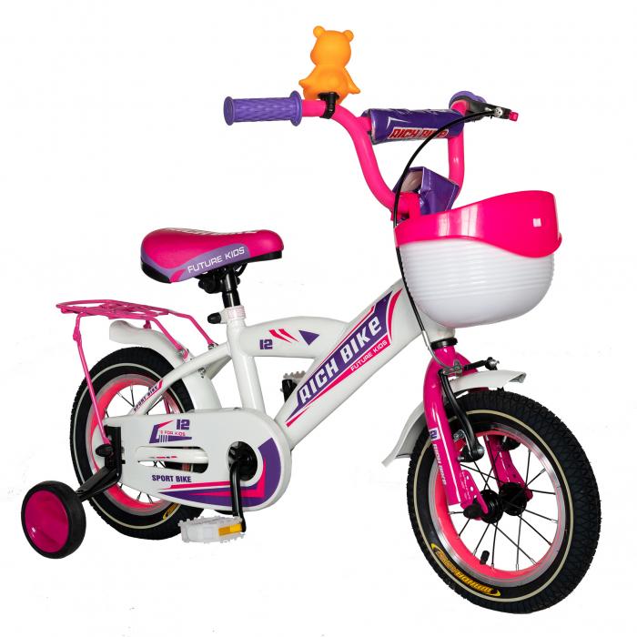 Bicicleta Copii 2-4 ani, Roti 12 Inch, V-Brake, Roti Ajutatoare, Rich Baby CST12/03C, Cadru Alb cu Design Roz [1]
