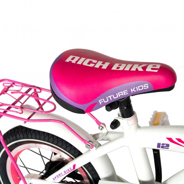 Bicicleta Copii 2-4 ani, Roti 12 Inch, V-Brake, Roti Ajutatoare, Rich Baby CST12/03C, Cadru Alb cu Design Roz [3]