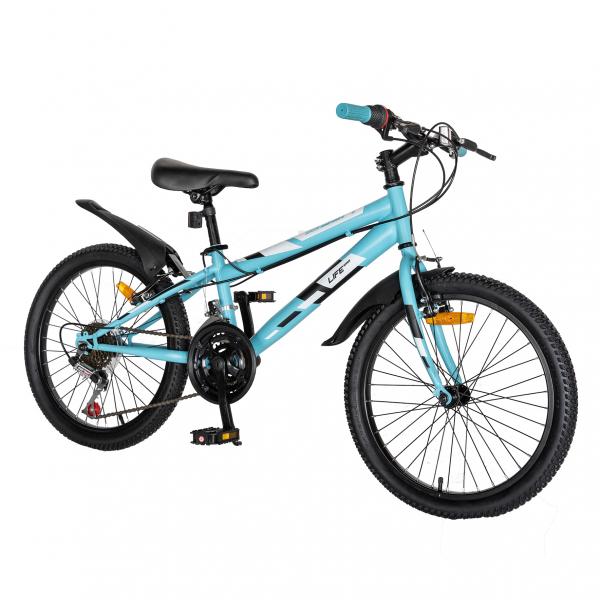 "Bicicleta copii 20"" LIFE A2030L, frana V-Brake,  18 viteze, varsta 7-10 ani, culoare albastru/alb 1"