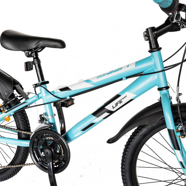 "Bicicleta copii 20"" LIFE A2030L, frana V-Brake,  18 viteze, varsta 7-10 ani, culoare albastru/alb 5"