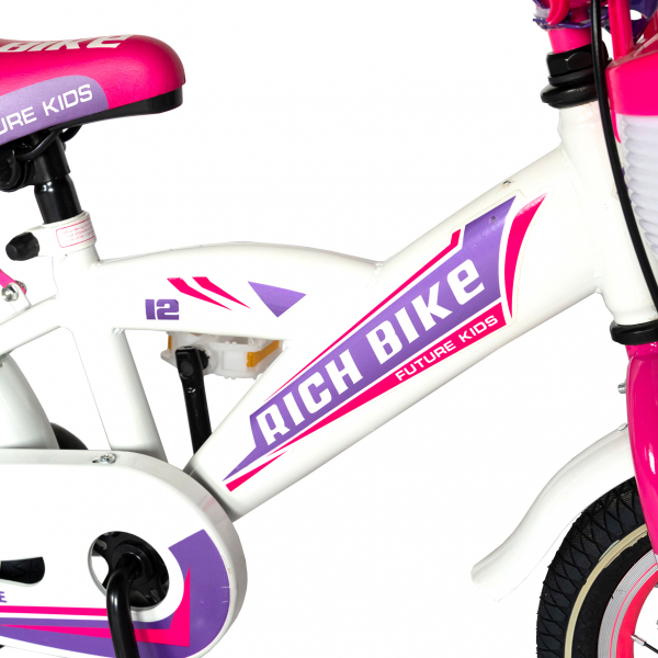 "Bicicleta copii Rich Baby T1203C, roata 12"", V-Brake,  roti ajutatoare, 2-4 ani, alb/roz 4"