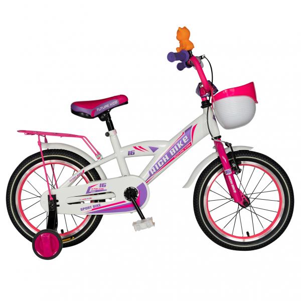 "Bicicleta copii Rich Baby T1603C, roata 16"", V-Brake,  roti ajutatoare, 4-6 ani, alb/roz [0]"