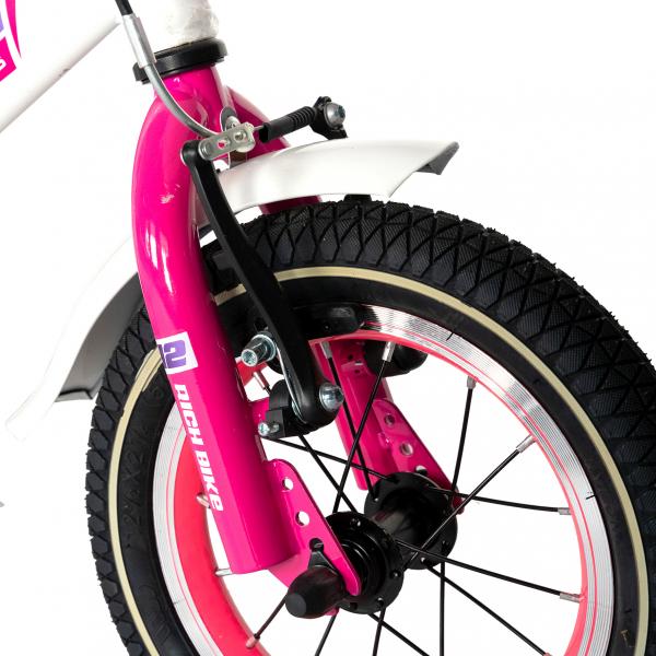 "Bicicleta copii Rich Baby T1603C, roata 16"", V-Brake,  roti ajutatoare, 4-6 ani, alb/roz [5]"