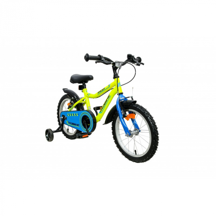 Bicicleta copii Robike Racer 16 galben neon/albastru [1]