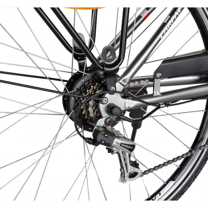 """Bicicleta electrica City (E-BIKE) CARPAT C1010E, roata 28"""", cadru aluminiu, frane V-Brake, transmisie SHIMANO 7 viteze, culoare gri/alb [3]"""