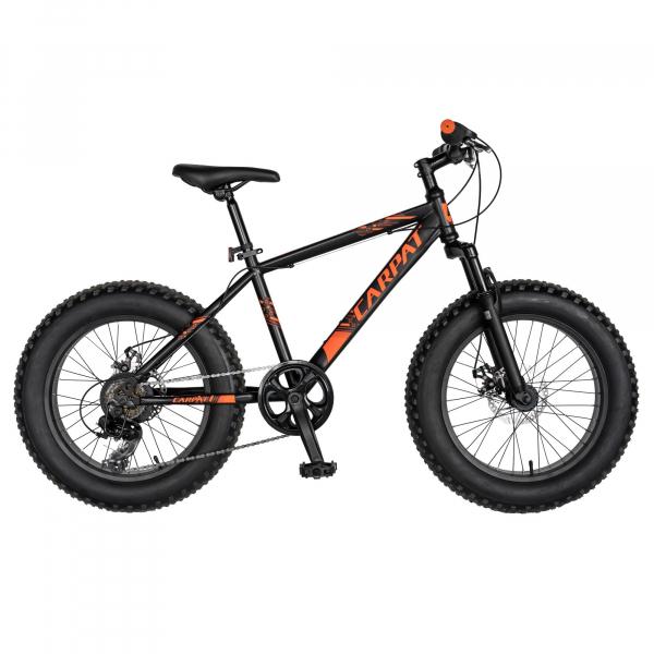 Bicicleta Fat Bike CARPAT Hercules 20 inch C2019B, frane mecanice disc, 6 viteze, culoare negru/portocaliu 0
