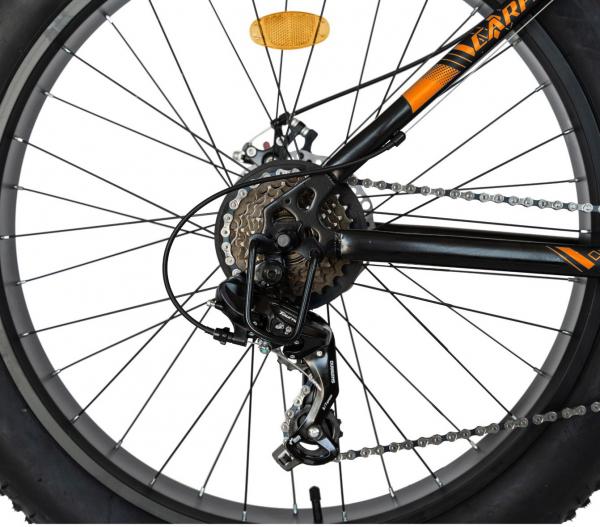 Bicicleta Fat Bike CARPAT Hercules 20 inch C2019B, frane mecanice disc, 6 viteze, culoare negru/portocaliu 4