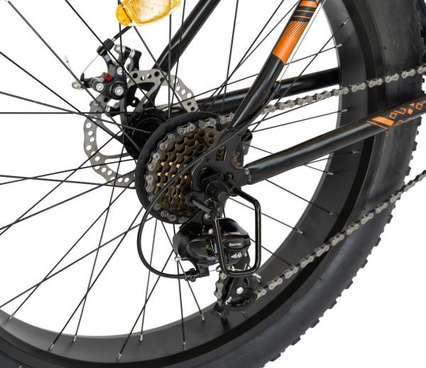Bicicleta Fat Bike CARPAT Hercules 20 inch C2019B, frane mecanice disc, 6 viteze, culoare negru/portocaliu 3